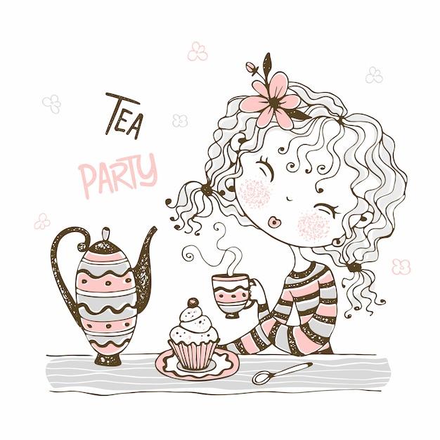 Ragazza carina che beve il tè. tea party. stile doodle. Vettore Premium
