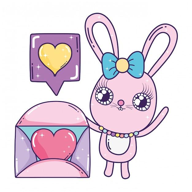 Ragazza carina coniglio con busta san valentino Vettore Premium