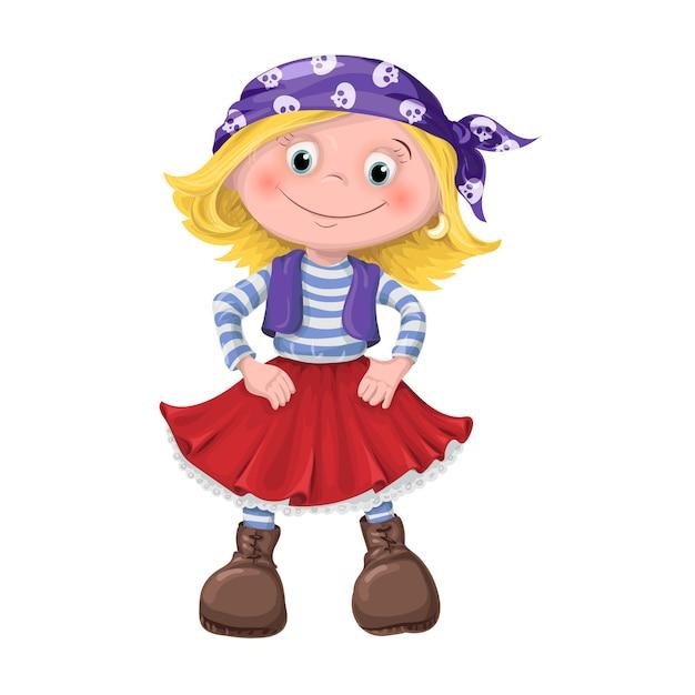 Ragazza carina di bambini pirati Vettore Premium