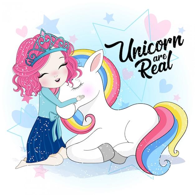 Ragazza carina disegnata a mano con unicorno Vettore Premium