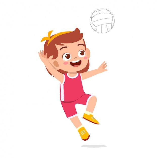 Ragazza carina felice del bambino gioca a pallavolo del treno Vettore Premium