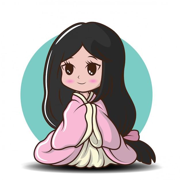 Ragazza carina giapponese in costume da principessa., personaggio dei cartoni animati Vettore Premium