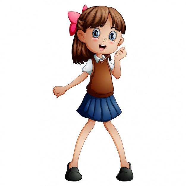 Ragazza carina in uniforme scolastica Vettore Premium