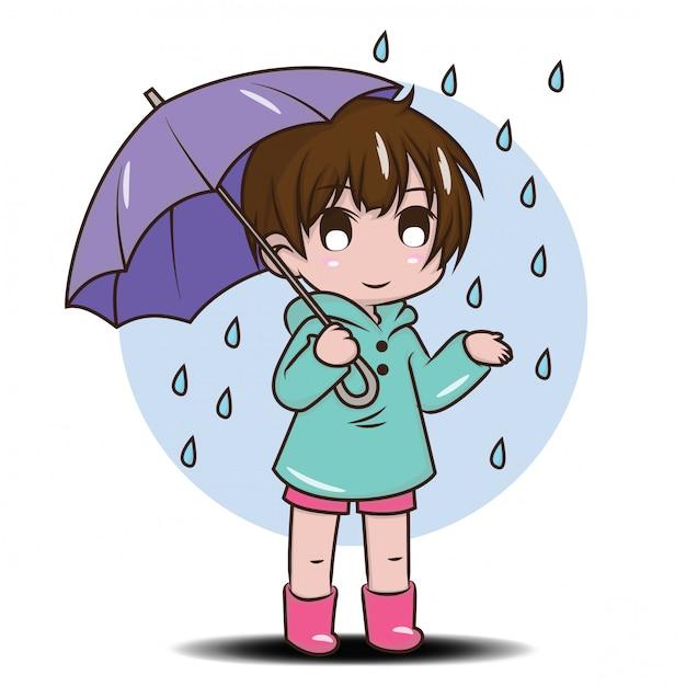 Ragazza carina per essere felice nella stagione delle piogge Vettore Premium