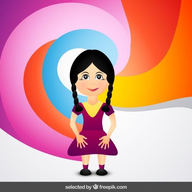 Ragazza cartone animato su sfondo colorato scaricare
