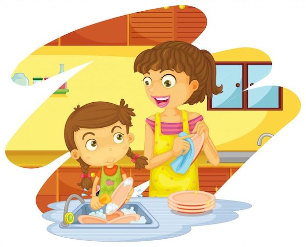Ragazza che aiuta mamma a lavare i piatti Vettore gratuito