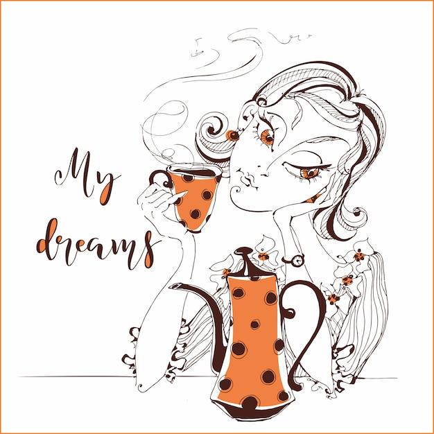Ragazza che beve il tè. la ragazza sogna. il mio sogno. Vettore Premium