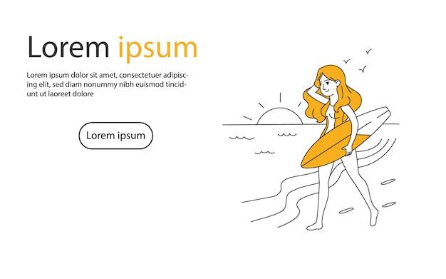 Ragazza che cammina sulla spiaggia con illustrazione vettoriale di tavola da surf Vettore Premium