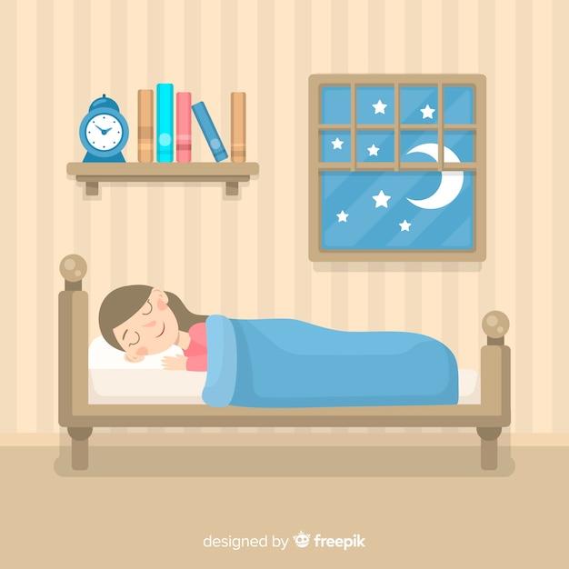 Ragazza che dorme nel letto Vettore gratuito
