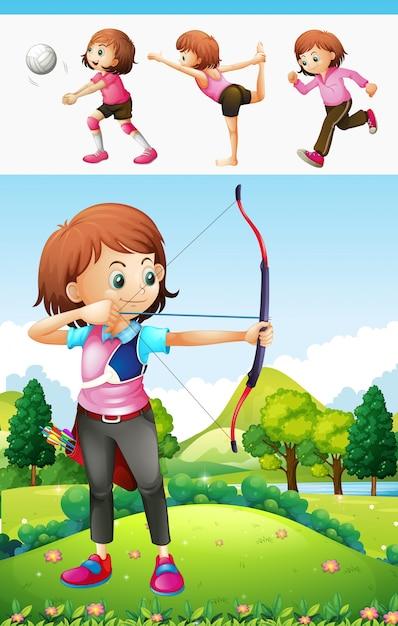 Ragazza che fa il tiro con l'arco e un'altra illustrazione di sport Vettore gratuito