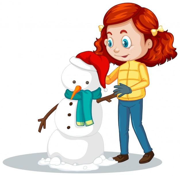 Ragazza che fa pupazzo di neve sul bianco Vettore gratuito