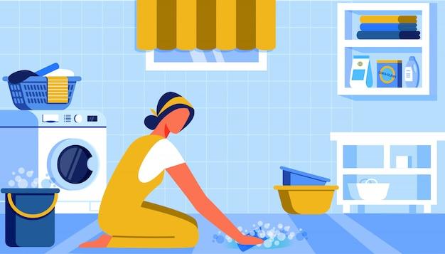 Ragazza che lava il pavimento con secchio Vettore Premium