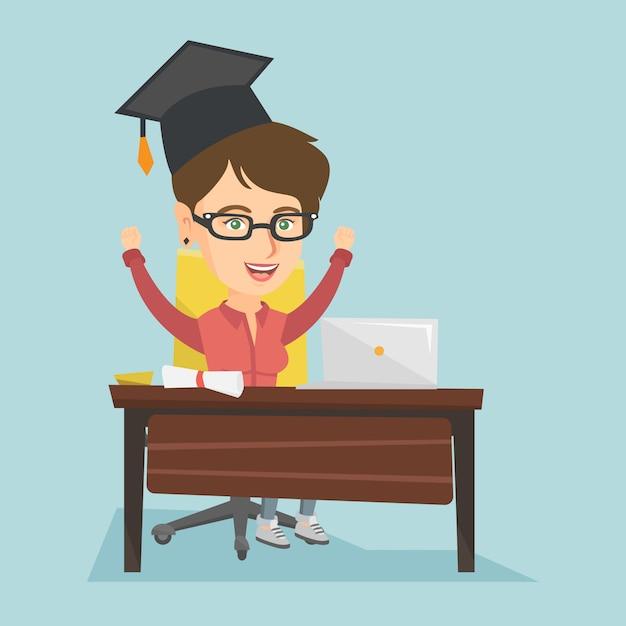 Ragazza che si siede al tavolo con laptop e diploma. Vettore Premium