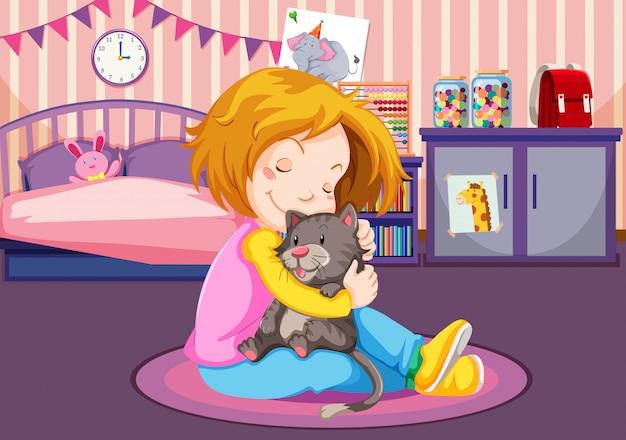 Ragazza che stringe a sé un gattino Vettore Premium