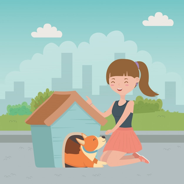 Ragazza con cane di cartone animato Vettore gratuito