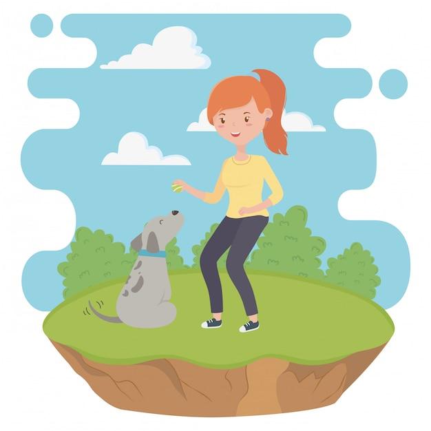 Ragazza con cartone animato cane Vettore gratuito