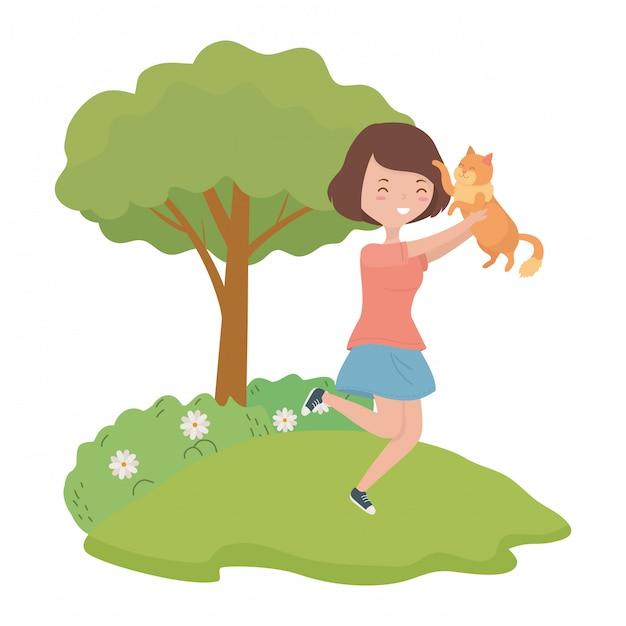 Ragazza con cartone animato gatto Vettore gratuito
