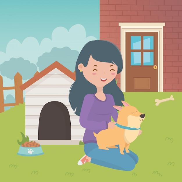 Ragazza con design di cane cartone animato Vettore gratuito