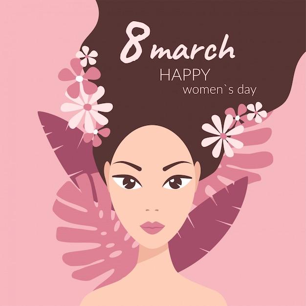 Ragazza con foglie e fiori tropicali tra i capelli su rosa, 8 marzo auguri Vettore Premium