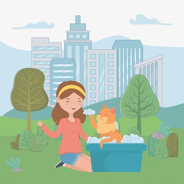 Ragazza con gatto di cartone animato Vettore gratuito