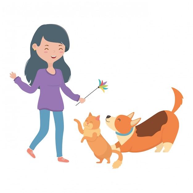 Ragazza con gatto e cane di cartone animato Vettore gratuito