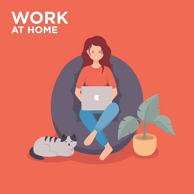 Ragazza con il computer portatile che lavora dall'illustrazione domestica Vettore Premium