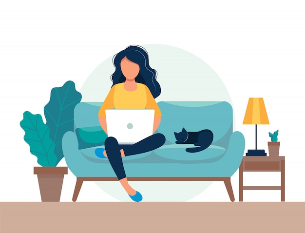 Ragazza con il computer portatile che si siede sulla sedia. libero professionista o concetto di studio. Vettore Premium
