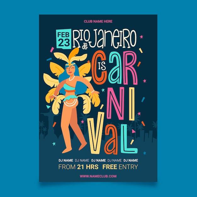 Ragazza con il manifesto brasiliano disegnato a mano del partito di carnevale delle piume Vettore gratuito