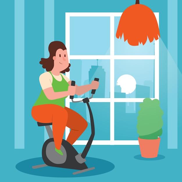 Ragazza con sovrappeso che fa l'illustrazione di esercizi. donna che si allena per perdere peso. cyclette a casa. dieta femminile grassa, facendo fitness. Vettore Premium