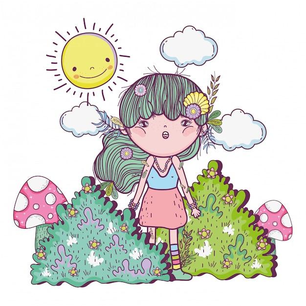 Ragazza creatura tra i cespugli con sole e nuvole Vettore Premium