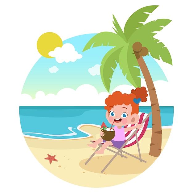 Ragazza del bambino che gioca sull'illustrazione della spiaggia Vettore Premium