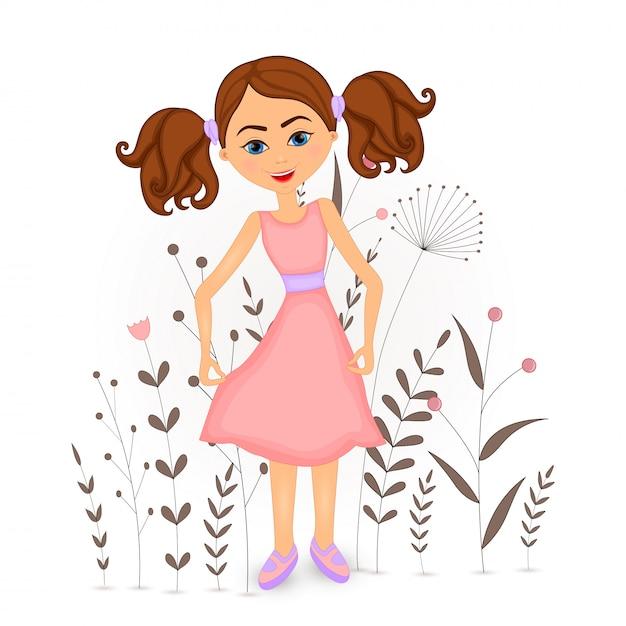 Ragazza del fumetto con decorativi floreali con rami e piante. Vettore Premium
