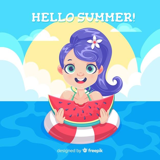 Ragazza del fumetto di sfondo estate Vettore gratuito