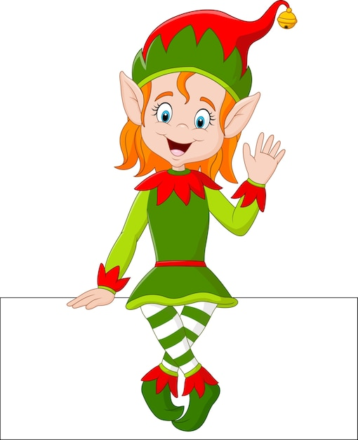 Ragazza dell'elfo del fumetto che si siede sul segno in bianco Vettore Premium