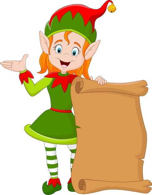 Ragazza dell'elfo di natale del fumetto che tiene vecchio rotolo di carta Vettore Premium