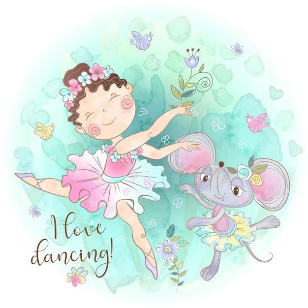Ragazza della ballerina che balla con un topo giocattolo. amo ballare. iscrizione. Vettore Premium