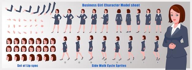 Ragazza di affari scheda del modello del personaggio con animazioni del ciclo di camminata e sincronizzazione labiale Vettore Premium