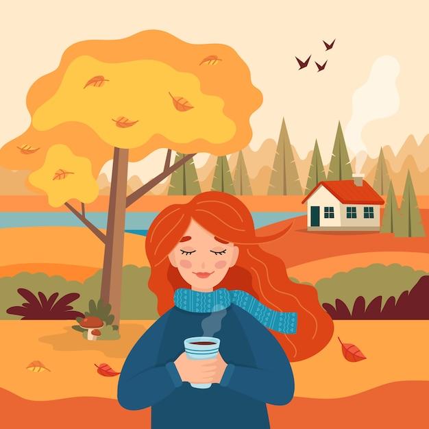 Ragazza di autunno con la tazza di caffè, vista rurale del paesaggio Vettore Premium
