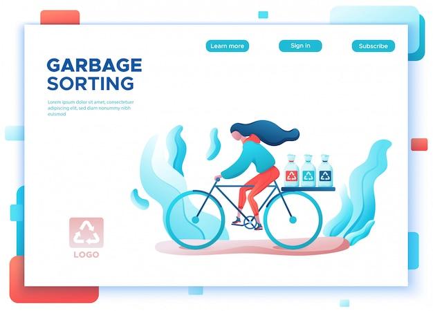 Ragazza di smistamento dei rifiuti che trasporta i sacchi della spazzatura per il riciclaggio della pagina di destinazione Vettore Premium