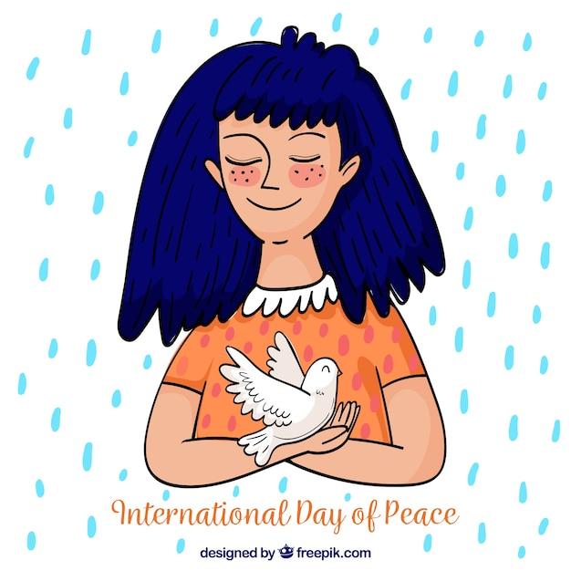 Ragazza disegnata a mano con la colomba sotto la pioggia Vettore gratuito