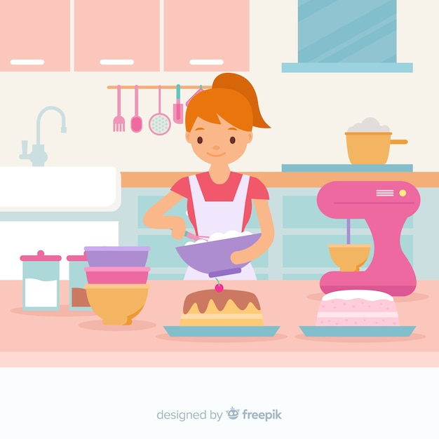 Ragazza disegnata a mano cucina sfondo Vettore gratuito