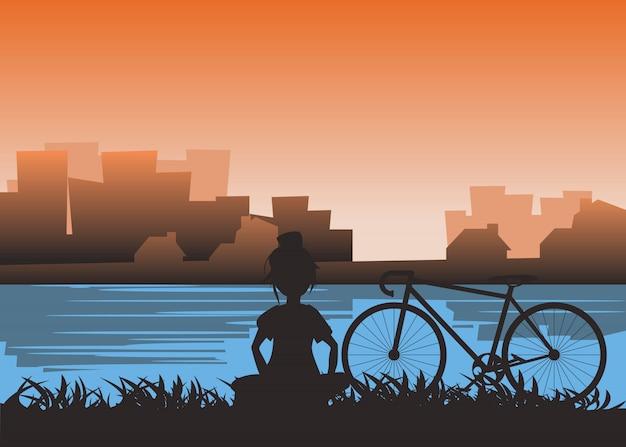 Ragazza e bicicletta alla riva del fiume in città illustrazione vettoriale Vettore Premium