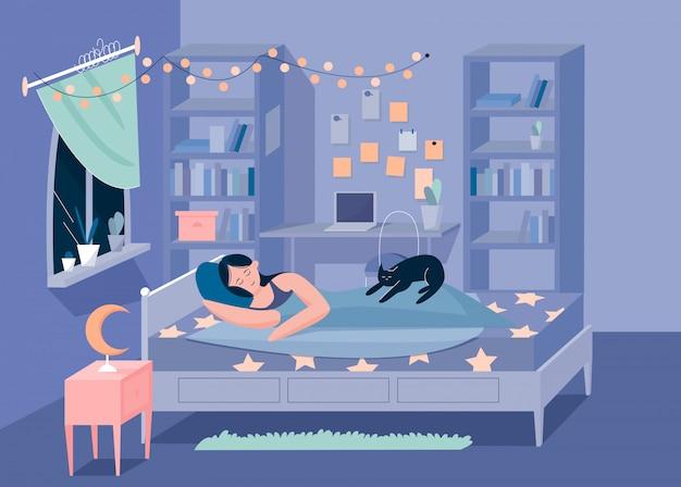 Ragazza e gattino addormentati dell'innamorato nel concetto piano dell'illustrazione di vettore del carattere della camera da letto Vettore Premium