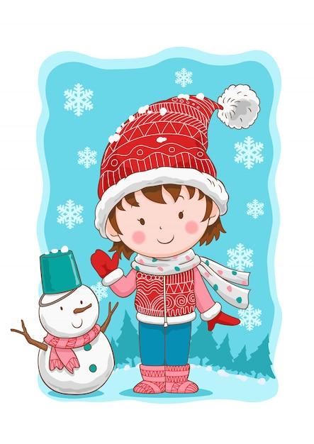 Ragazza e pupazzo di neve svegli di inverno. Vettore Premium