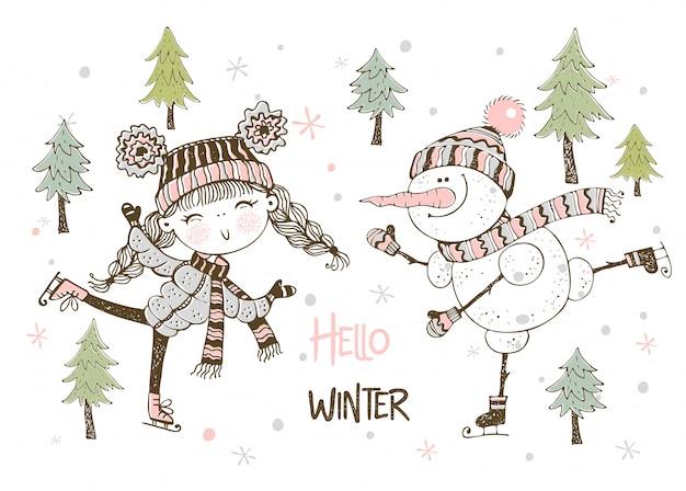 Ragazza e pupazzo di neve svegli nel pattinaggio della sciarpa e del cappello. ciao inverno. Vettore Premium
