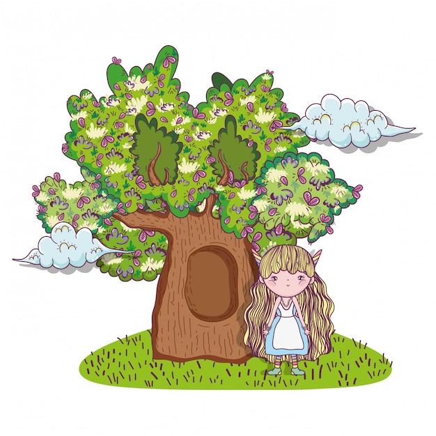 Ragazza fantastica creatura con case sugli alberi Vettore Premium