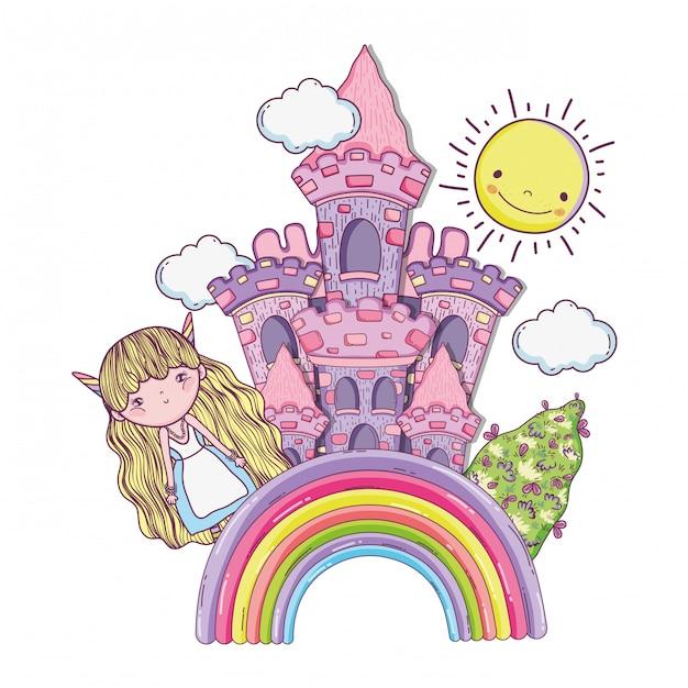 Ragazza fantastica creatura con castello nell'arcobaleno Vettore Premium
