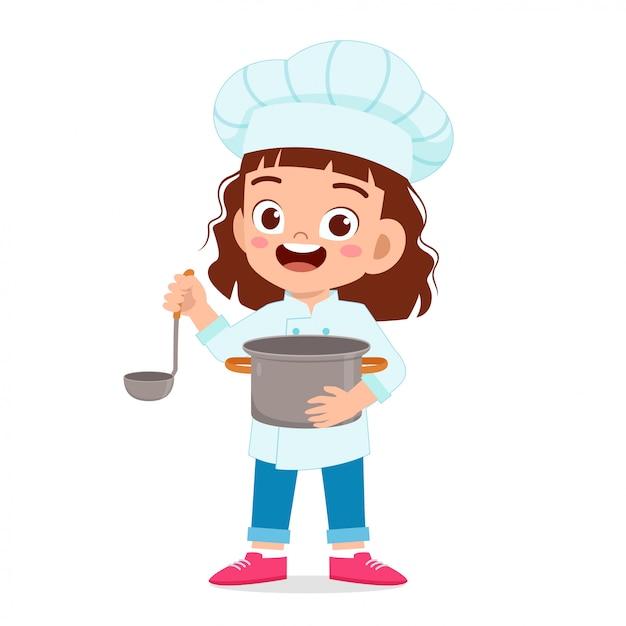 Ragazza felice bambino carino in costume da chef Vettore Premium