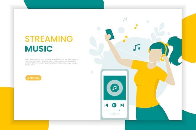 Ragazza felice che ascolta la musica in streaming facendo uso di un'illustrazione del cellulare Vettore Premium