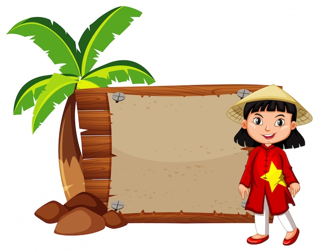 Ragazza felice in costume vietnamita Vettore gratuito